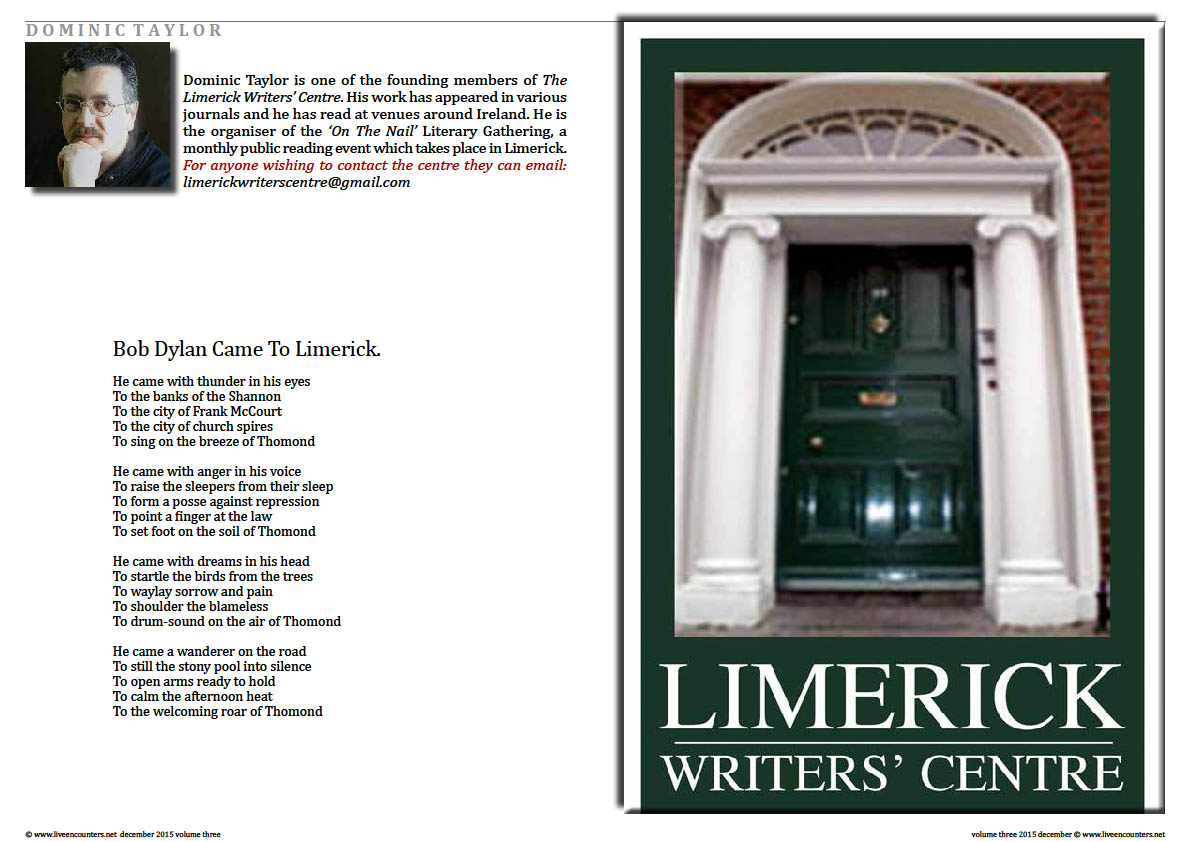 Live Encounters Magazine  Dominic Taylor Poems from Limerick Page 1 Volume 3 December 2015