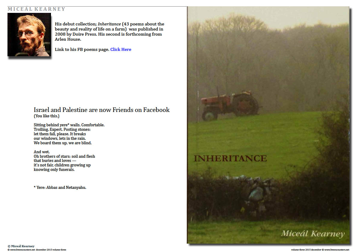 Live Encounters Magazine  Miceál Kearney - Inheritance Page 1 Volume 3 December 2015