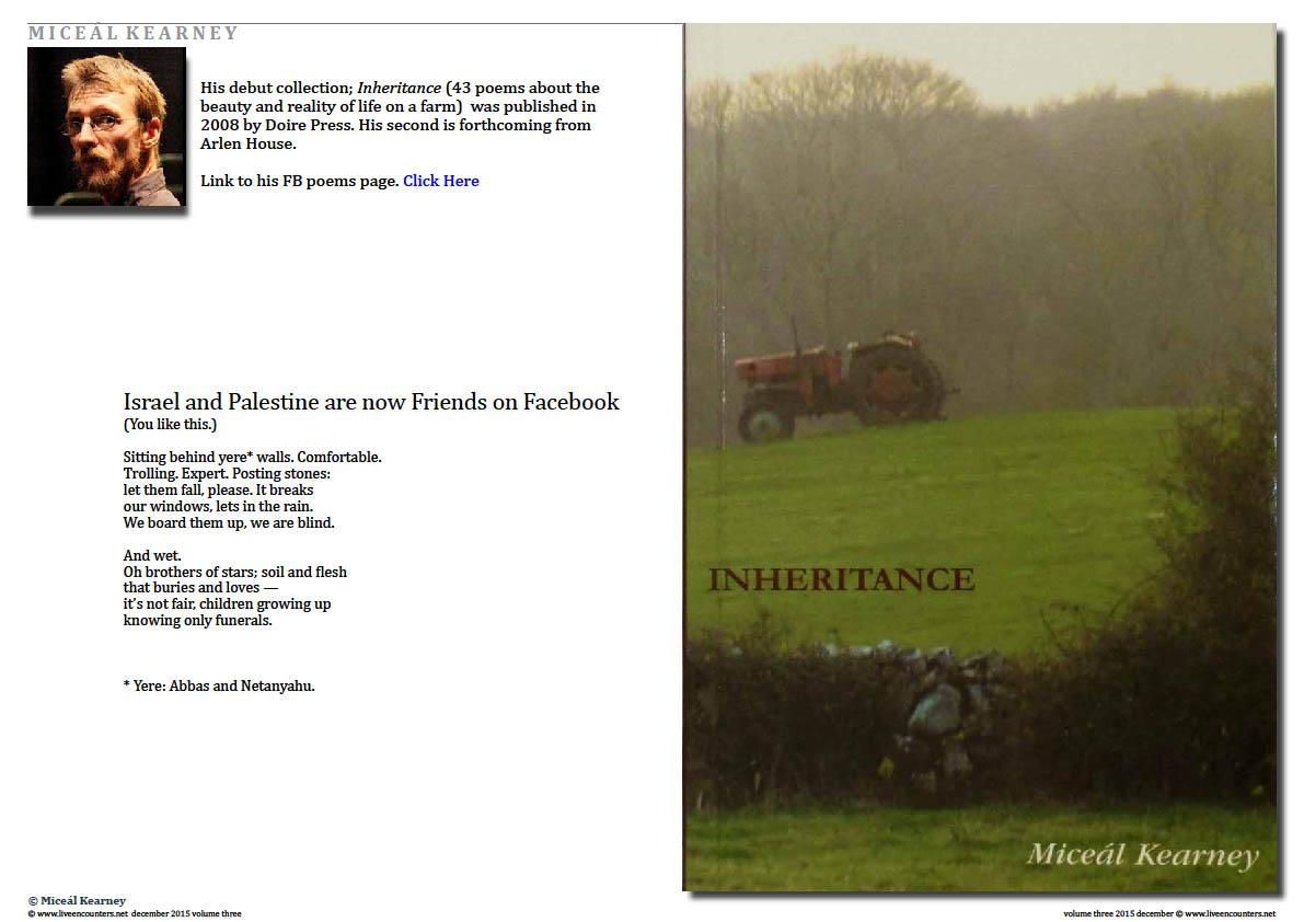 Live Encounters Magazine  Miceál Kearney - Inheritance Page 1 Volume 3 December 2015