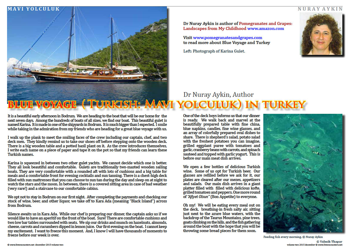 Live Encounters Dr Nuray Aykin Blue Voyage in Turkey Volume Two December 2015 page one