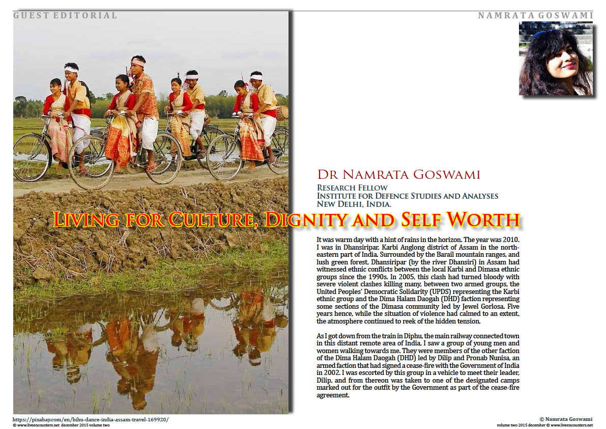 Live Encounters Magazine Living for Culture, Dignity and Self Worth by Dr Namrata Goswami Volume Two 2015 page one