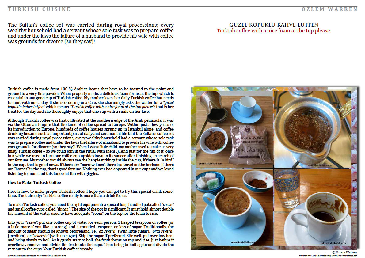 Live Encounters Magazine Ozlem Warren Turk Kahvesi a Drink of Friendship Volume Two December 2015 page 2