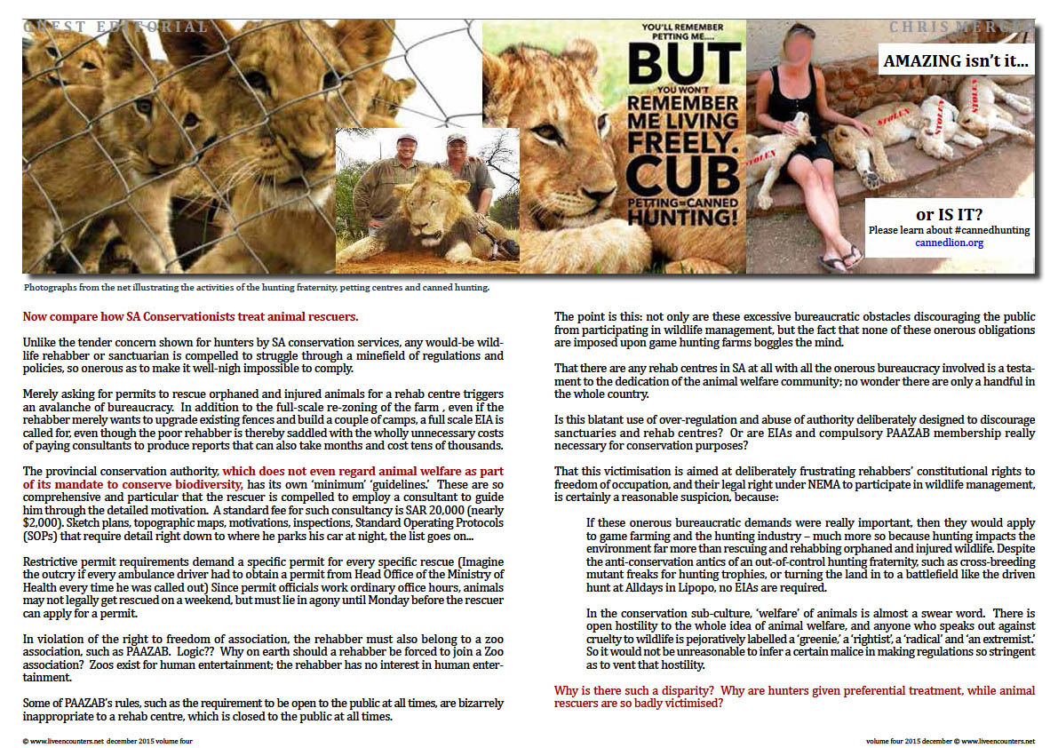 Live Encounters Chris Mercer - Regulatory capture and the hunting fraternity Volume Four December 2015  Page 03