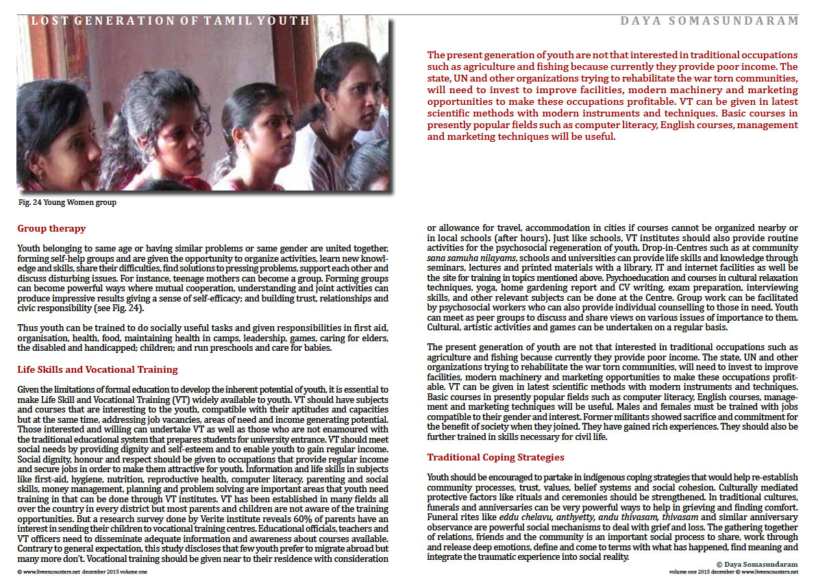 Live Encounters Dr Daya Somasundaram A Lost Generation of Tamil Youth Volume One December 2015 Page 10