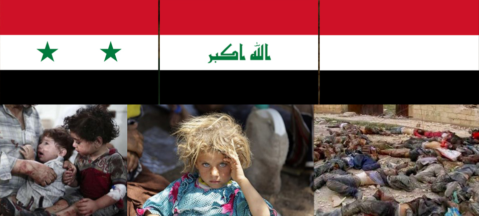 Flags of Syria Iraq Yemen