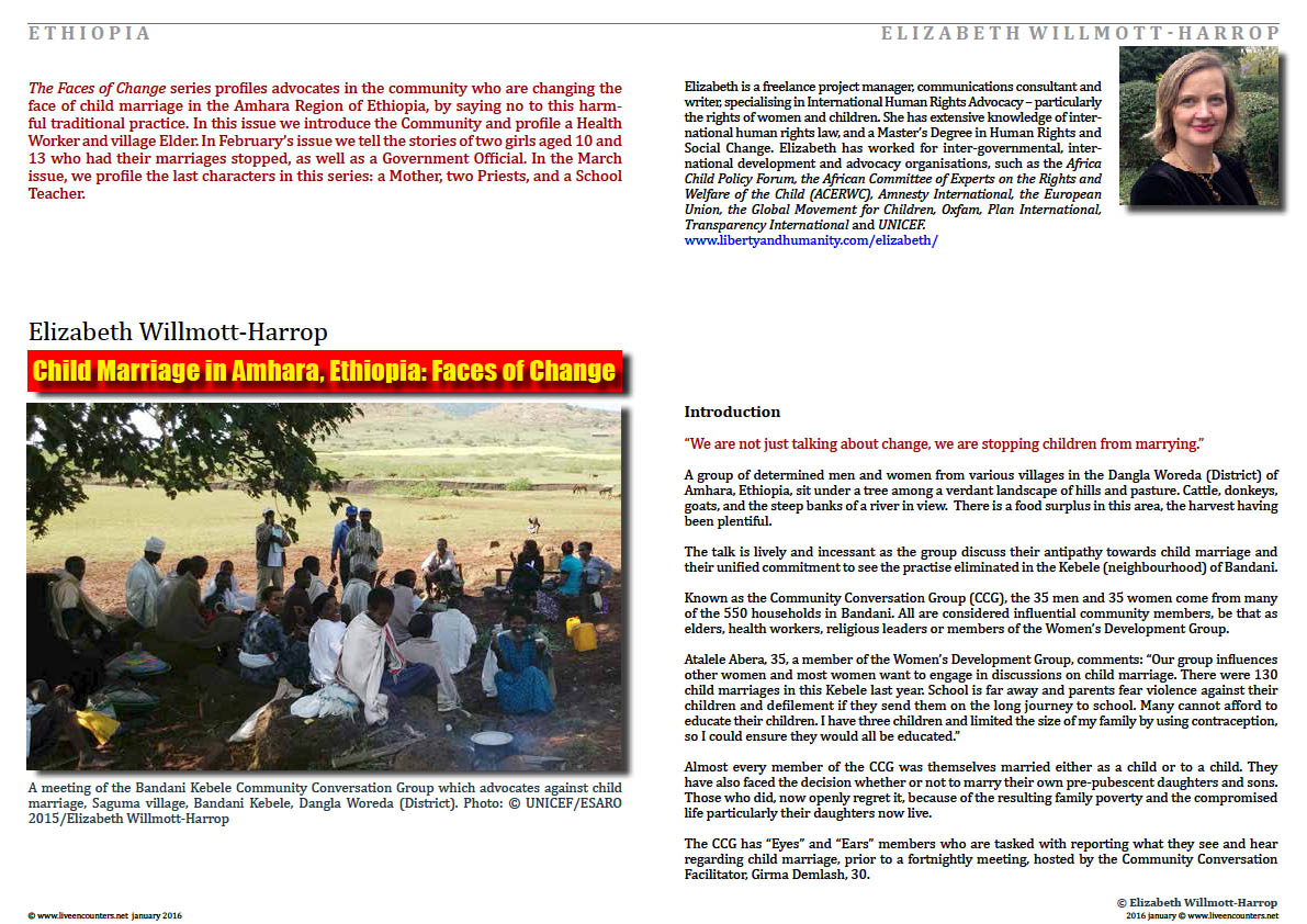 Page01 Child Marriage in Amhara, Ethiopia: Faces of Change by Elizabeth Willmott-Harrop Live Encounters Magazine January 2016