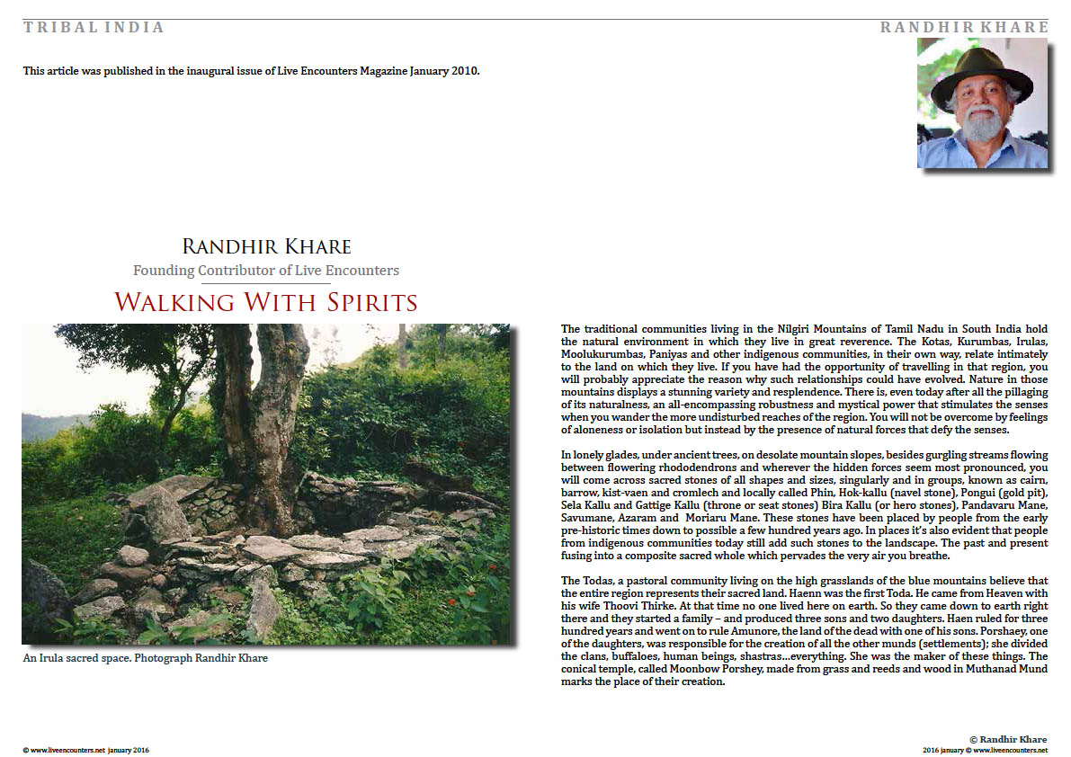 Page01 Randhir Khare walking with spirits Live Encounters Magazine january 2016
