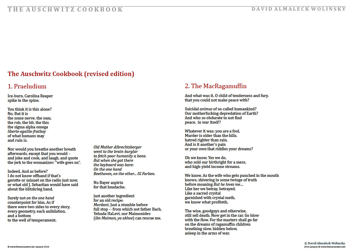 Page02 The Auschwitz Cookbook by David Almaleck Wolinsky Live Encounters Magazine January 2016