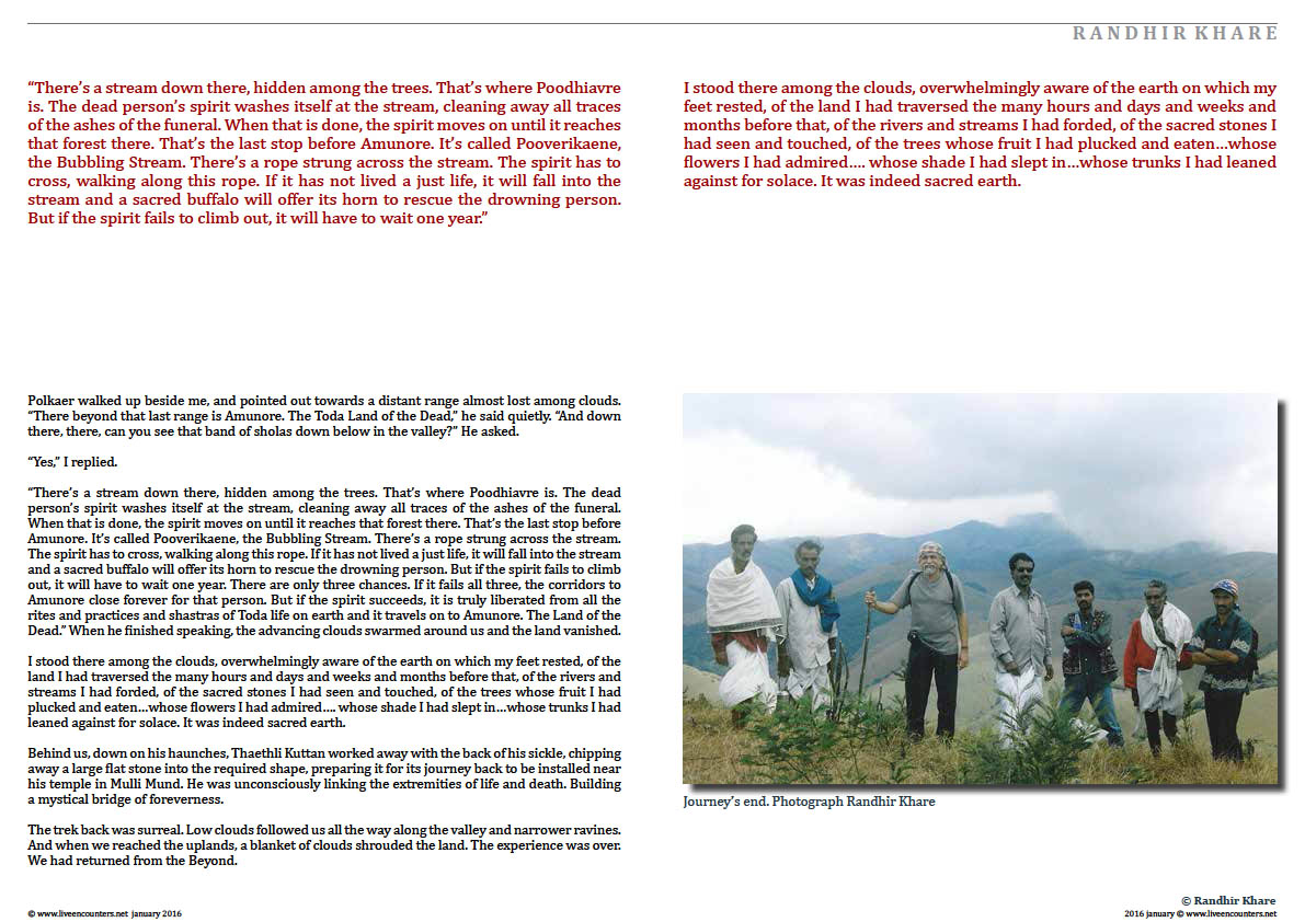 Page04 Randhir Khare walking with spirits Live Encounters Magazine january 2016