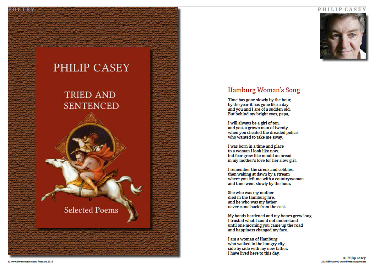Page 1 Tried and Sentenced, Selected Poems by Philip Casey, celebrated Irish Poet, Writer and Member  of Aosdána