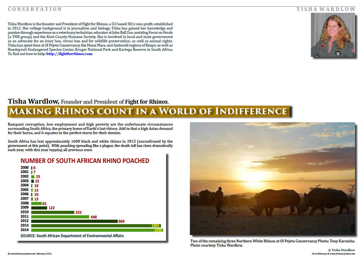Page 1 Making Rhinos Count in a World of Indifference by Tisha Wardlow Live Encounters Magazine February 2016