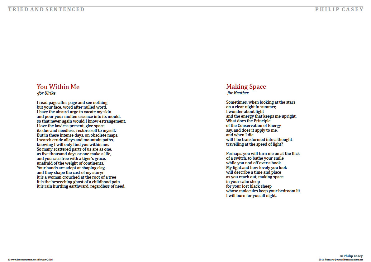 Page 3 Tried and Sentenced, Selected Poems by Philip Casey, celebrated Irish Poet, Writer and Member  of Aosdána