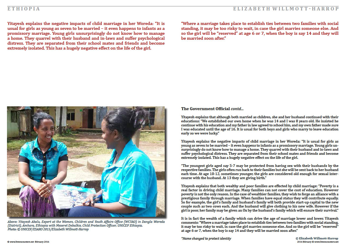 Page Four Child Marriage in Amhara, Ethiopia: Faces of Change by Elizabeth Willmott-Harrop Part 2 Live Encounters Magazine February 2016