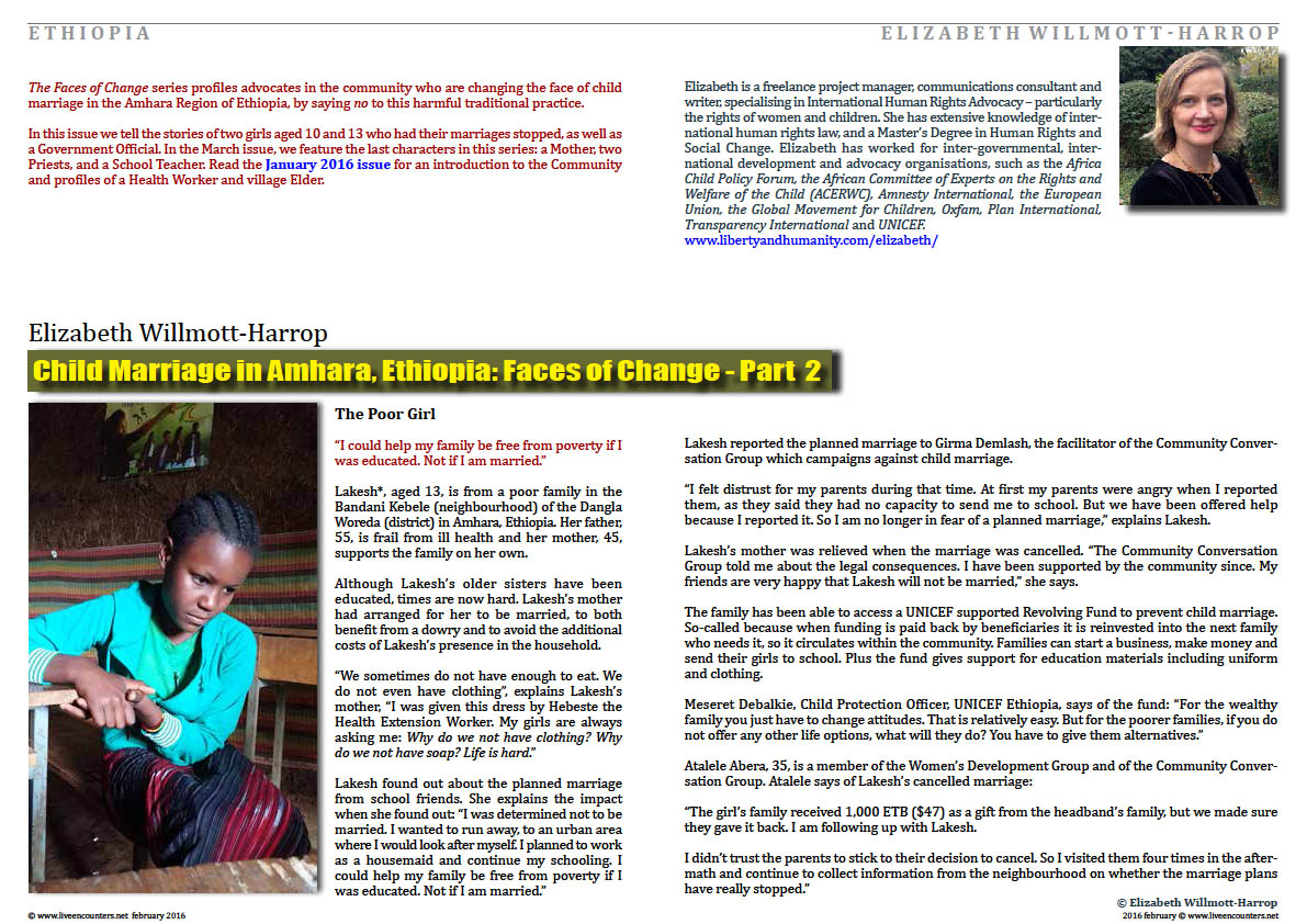 Page One Child Marriage in Amhara, Ethiopia: Faces of Change by Elizabeth Willmott-Harrop Part 2 Live Encounters Magazine February 2016