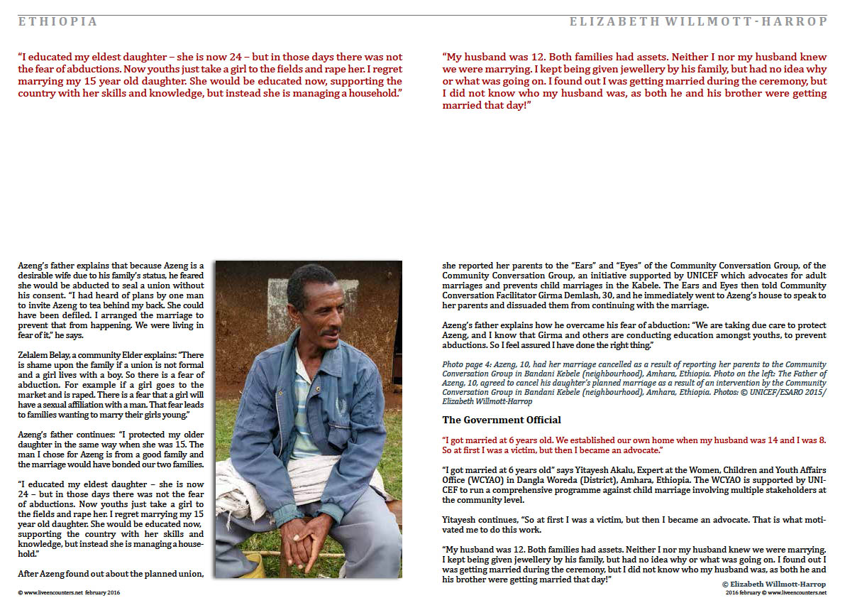 Page Three Child Marriage in Amhara, Ethiopia: Faces of Change by Elizabeth Willmott-Harrop Part 2 Live Encounters Magazine February 2016
