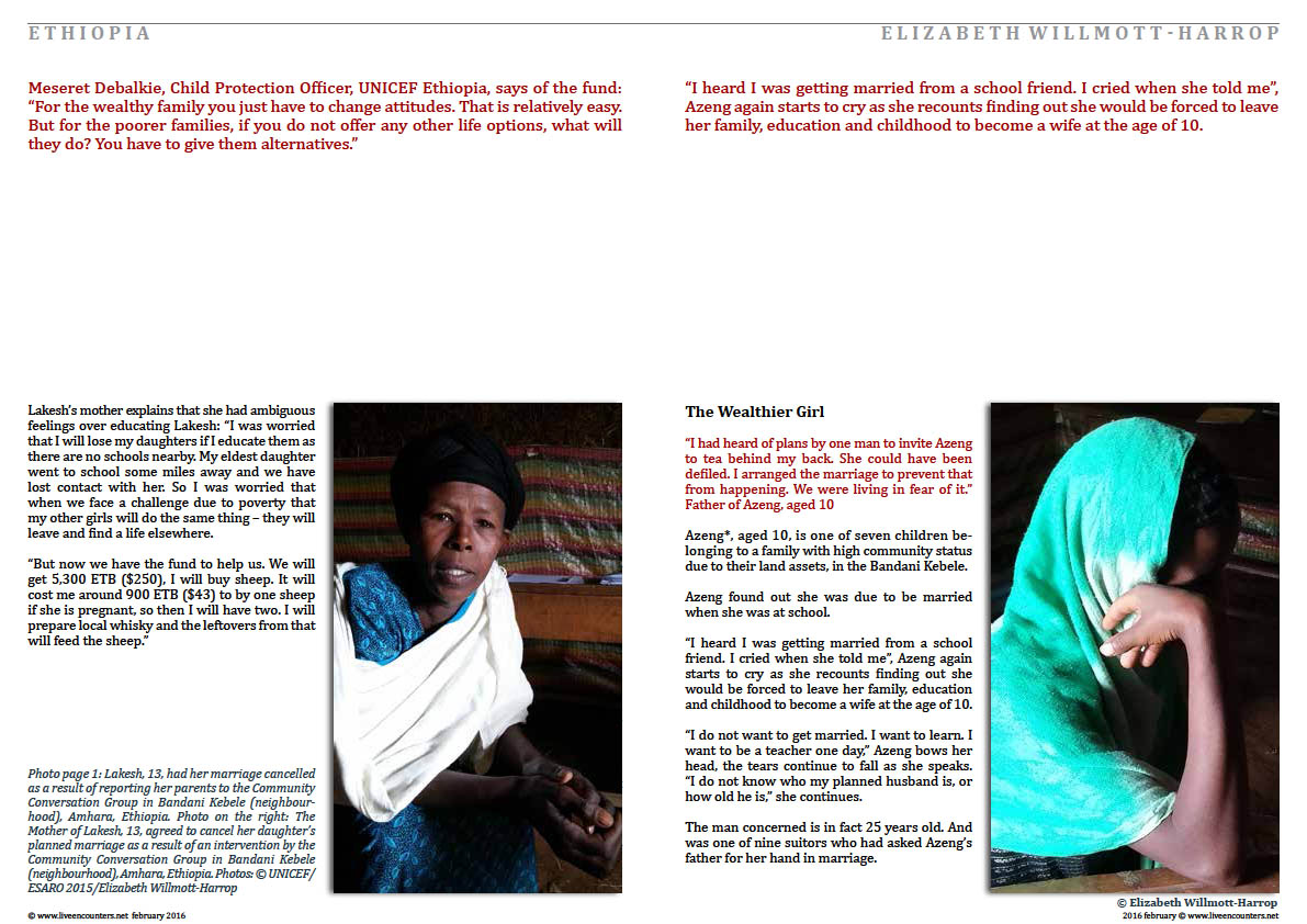 Page Two Child Marriage in Amhara, Ethiopia: Faces of Change by Elizabeth Willmott-Harrop Part 2 Live Encounters Magazine February 2016