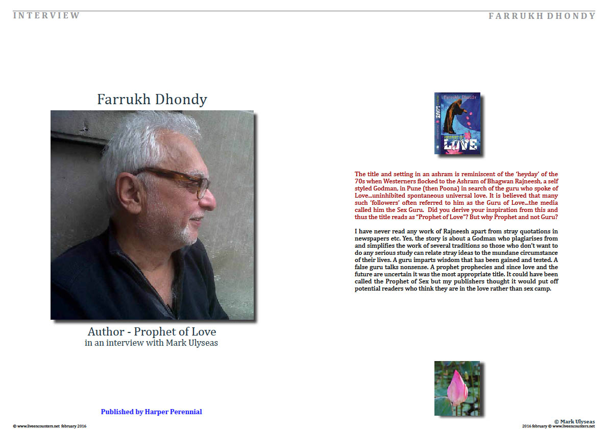 page 1 Farrukh Dhondy Prophet of Love Live Encounters Magazine February 2016