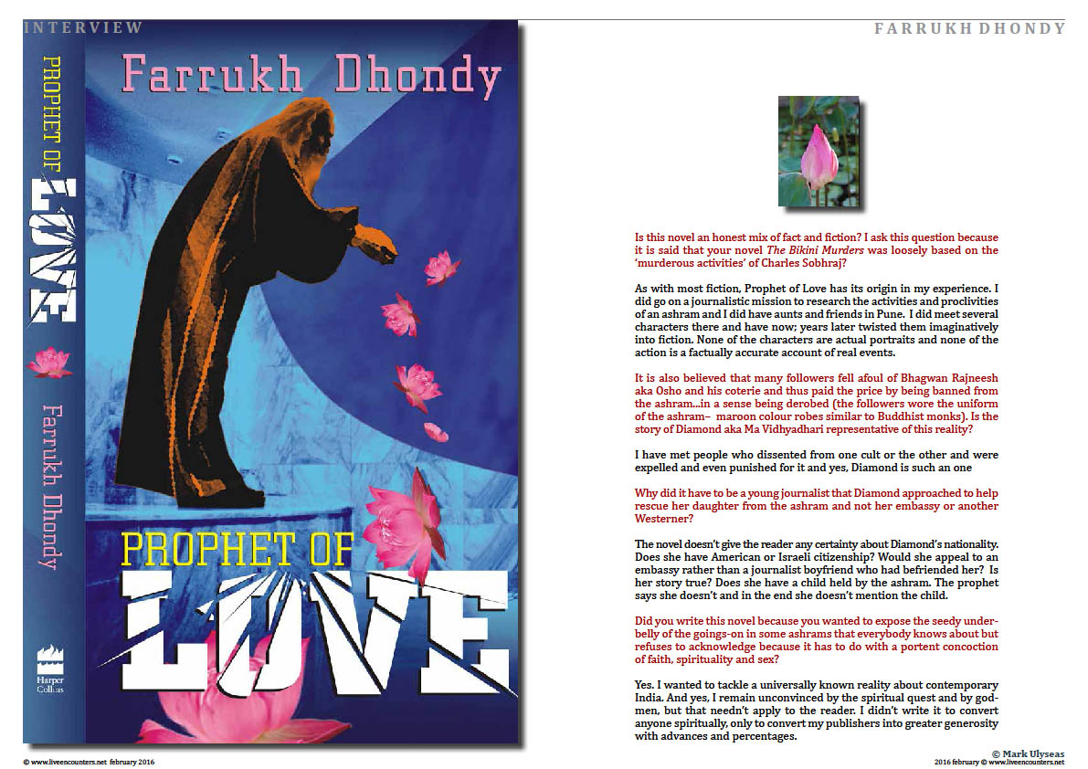 Page02 Farrukh Dhondy Prophet of Love Live Encounters Magazine February 2016