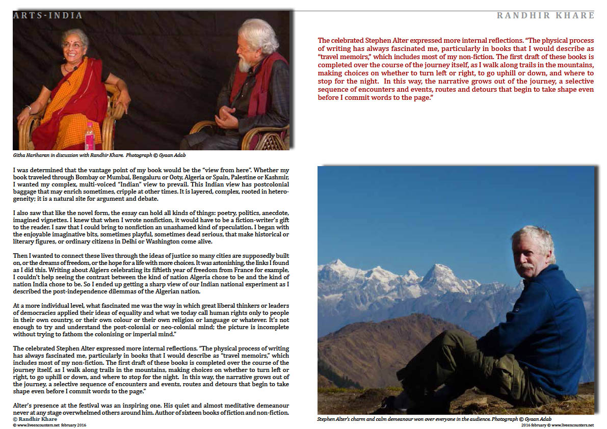 Page02 WHERE JOURNEYS MEET Randhir Khare Live Encounters Magazine February 2016