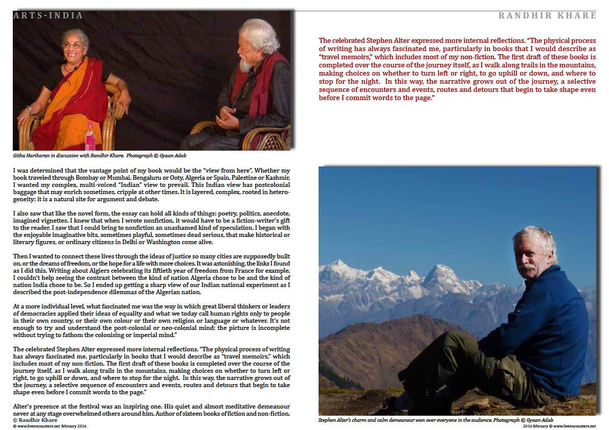 Page02 WHERE JOURNEYS MEET Randhir Khare Live Encounters Magazine February 2016