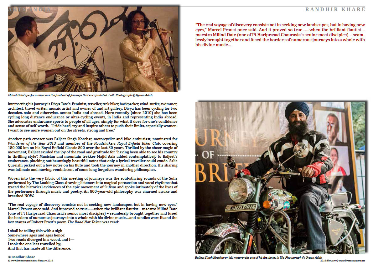 Page04 WHERE JOURNEYS MEET Randhir Khare Live Encounters Magazine February 2016