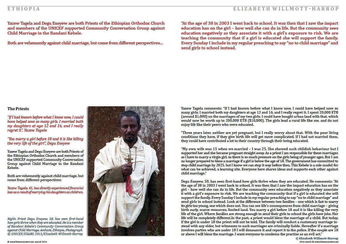 Child Marriage in Amhara, Ethiopia: Faces of Change Part 2 by Elizabeth Willmott-Harrop live encounters magazine march 2016