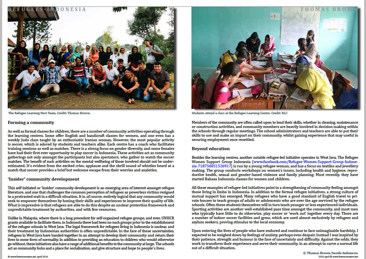 Page Two Thomas Brown refugees indonesia Live Encounters Magazine April 2016