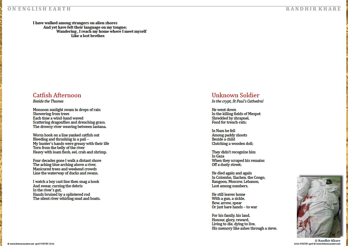 Page one Randhir Khare on english earth live encounters poetry april 2016