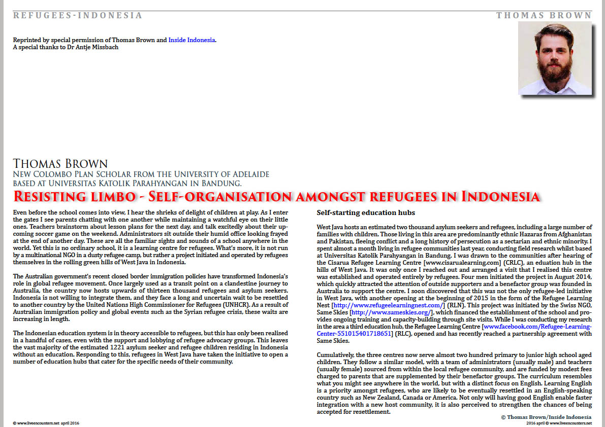 Page one Thomas Brown refugees indonesia live encounters magazine april 2016