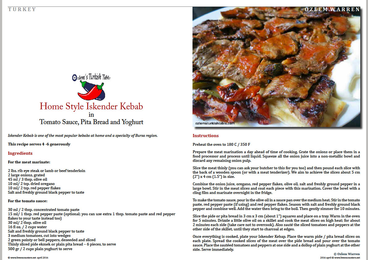Page two Ozlem Warren Home Style Iskender Kebab live encounters magazine april 2016