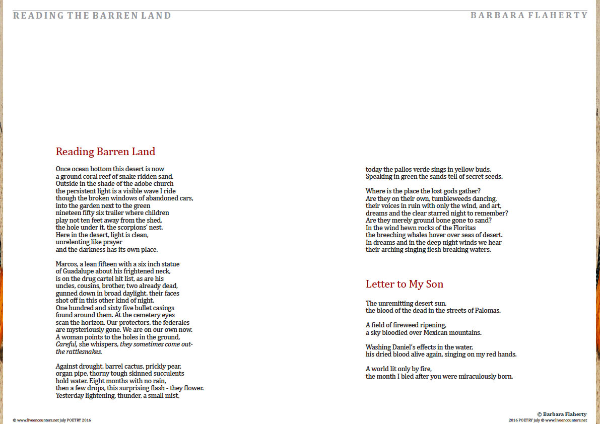 Page Three Barbara Flaherty Live Encounters Poetry July 2016