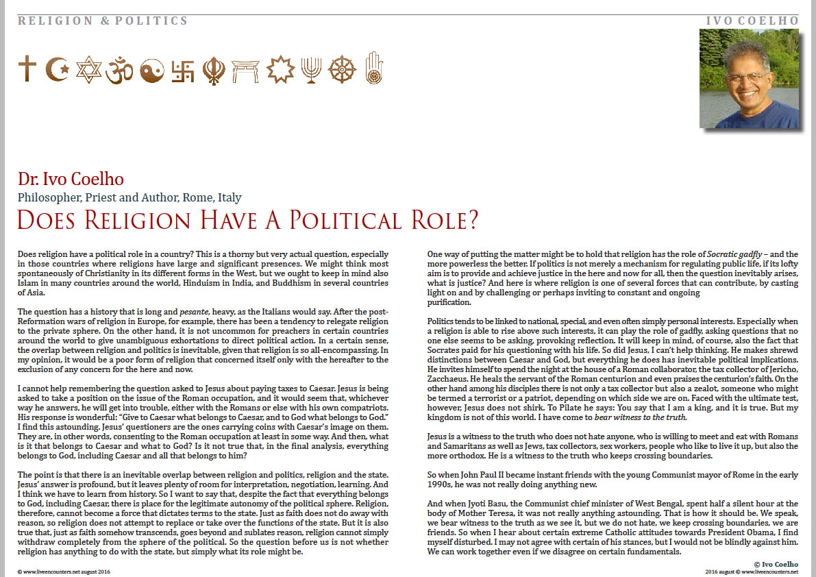 01 Dr Ivo Coelho Does religion have a political role Live Encounters Magazine August 2016