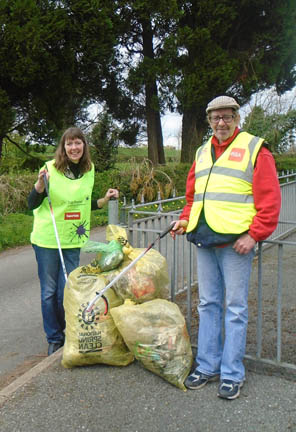 Litter picking - Helen with husband Ken. Photograph courtesy Helen Harrison