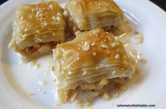 Light, melt-in-the mouth Sutlu Nuriye, a variation of baklava in milky syrup. Pic © Ozlem Warren