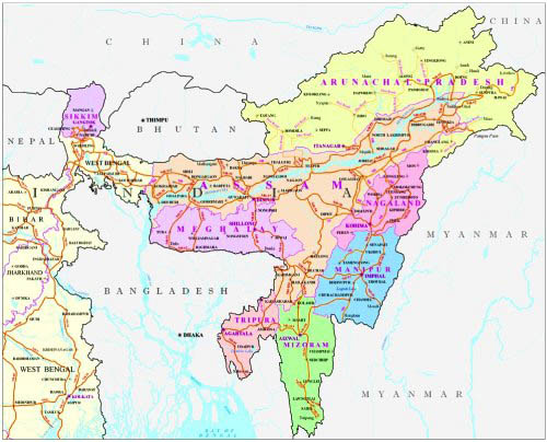 Map of India's Northeastern States