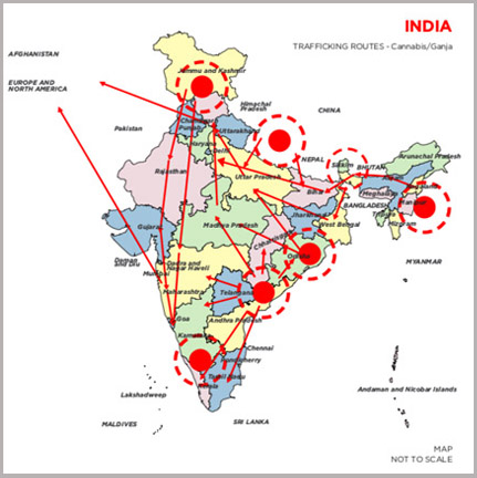 Cannabis smuggling route in India Source Narcotics Control Bureau, Government of India