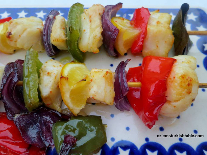 Fish Kebabs with lemon