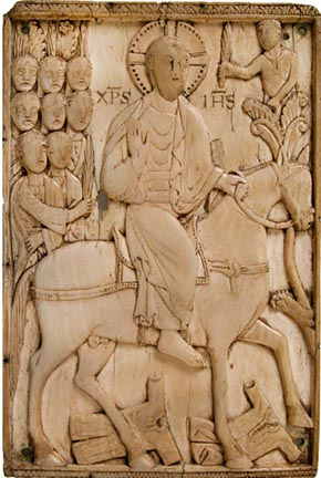 Ivory plaque depicting Jesus' entry into Jerusalem 10th century CE.