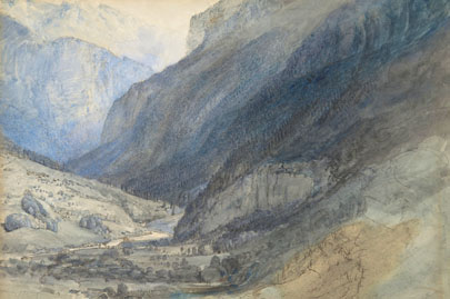 The Valley of Lauterbrunnen, Switzerland (1866) John Ruskin.