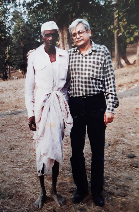Author with Janu Kaka nearly 3 decades ago.