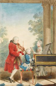 The Mozart family on tour: Leopold, Wolfgang, and Nannerl. Watercolor by Carmontelle, ca. 1763.