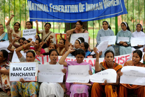 Activists in India protest against virginity tests in the states of Madhya Pradesh and Kerala in 2009. Raveendran/AFP/Getty Images https://www.npr.org/sections/goatsandsoda/2018/10/19/658155056/u-n-calls-for-end-to-virginity-tests