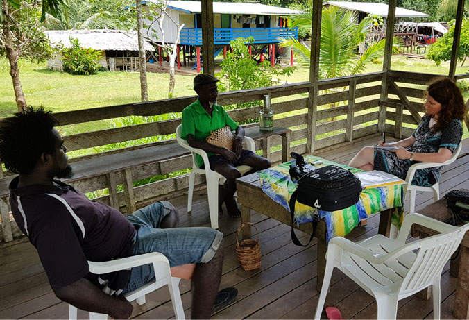 Dr Miranda Forysth conducting field research in Bougainville. Photograph courtesy Dr Miranda Forysth.