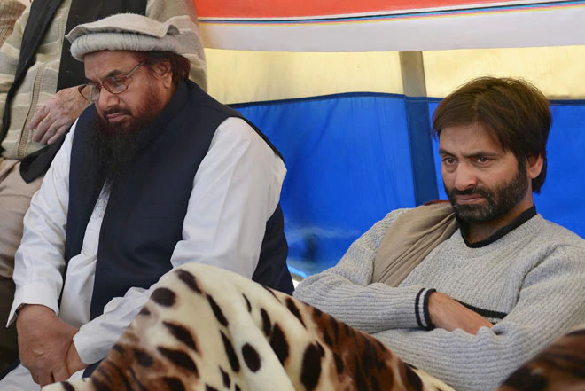 Lashkar-e-Toiba founder Hafiz Saeed with Jammu and Kashmir Liberation Front chief Yasin Malik.