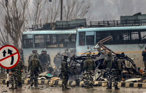 Site of the VBIED attack in Pulwama on 16 February 2019. Photo Source: NDTV