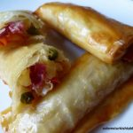 Filo rolls with Turkish pastirma, spicy pastrami – Pacanga boregi