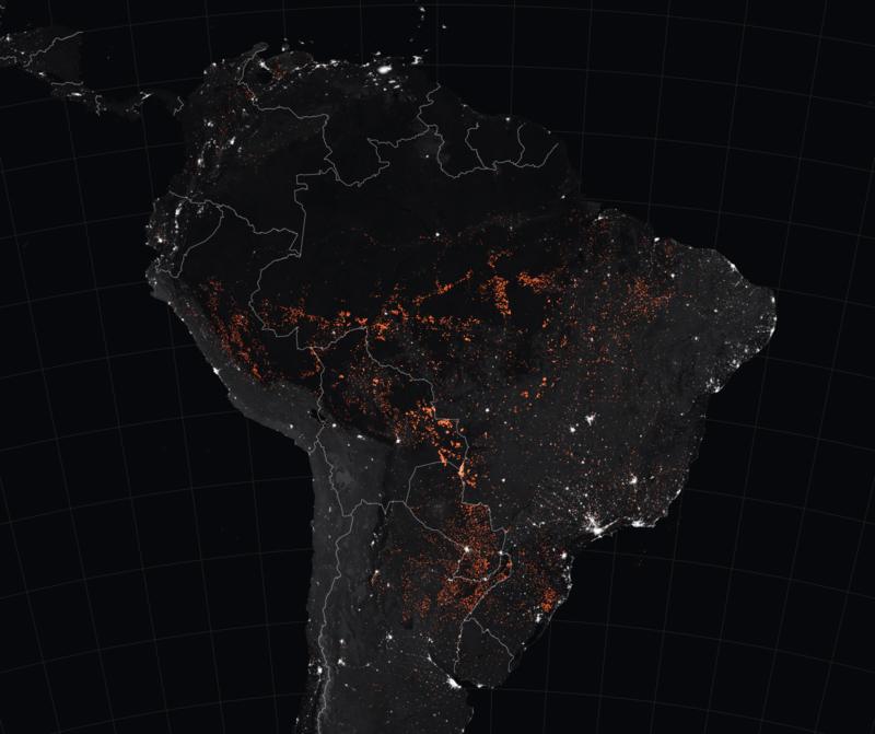 Amazon fires satellite image taken by MODIS