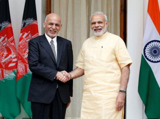 Afghan President Ashraf Ghani with Narendra Modi, Prime Minister of India,