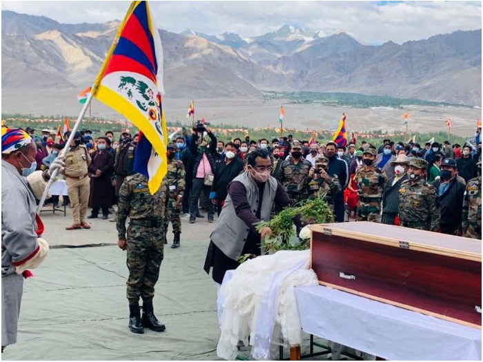 Ram Madhav laid a wreath for Special Frontier Force (SFF) commando Nyima Tenzin and later met his family. Photo: Twitter