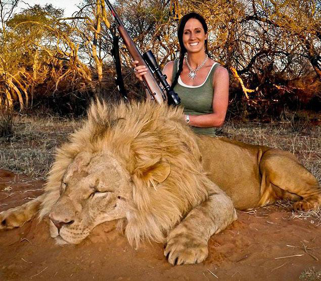 TV presenter and hunter Melissa Bachman posted this photo of herself with a lion she killed in South Africa - Melissa Bachman via Facebook